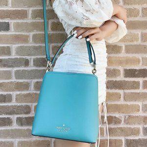 NWT Kate Spade Bucket Bag Crossbody Green Leather